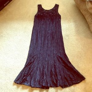 Navy Evening Gown with Lace Jacket